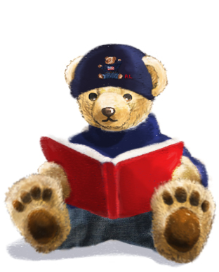 Animation of Polo Bear flipping through book & reaching for hat